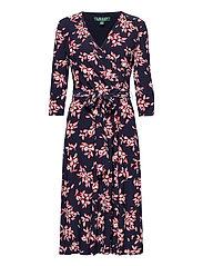 Floral Jersey Surplice Dress - LH NAVY/ORIENT RE