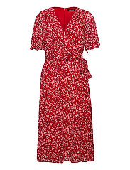 Print Georgette Dress - LIPSTICK RED/COL