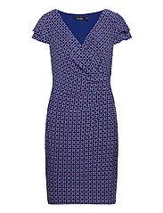 Print Jersey Surplice Dress - FRENCH ULTRAMARIN