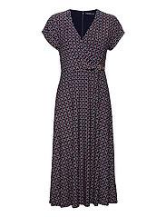 Print Buckle-Trim Jersey Dress - LH NAVY/RED/MULTI