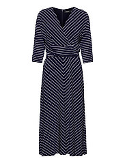 Striped Elbow-Sleeve Jersey Dress - LH NAVY/COLONIAL