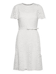 Belted Lace Dress - LAUREN WHITE