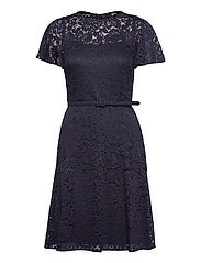 Belted Lace Dress - LIGHTHOUSE NAVY