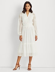 Lauren Ralph Lauren - Polka-Dot Lace-Trim Dobby Dress - alledaagse jurken - lauren white - 0