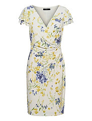 Floral Jersey Surplice Dress - COL CREAM/YELLOW/