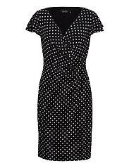 Polka-Dot Jersey Surplice Dress - BLACK/COLONIAL CR