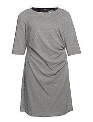 Plus-Size Houndstooth Jacquard Dress - BLACK/WHITE