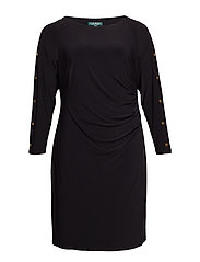 Plus-Size Button-Trim Matte Jersey Dress - BLACK/GOLD