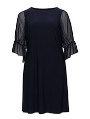 Georgette-Sleeve Jersey Dress - LH NAVY/LH NAVY