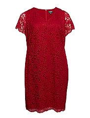 Plus-Size Scalloped Lace Dress - VIBRANT GARNET