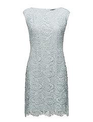 Lace Cap-Sleeve Dress - AQUAMARINE