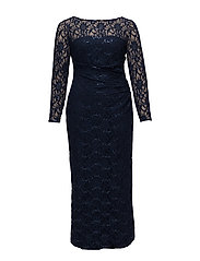Sequined Lace Gown - DEEP SAPPHIRE/NAV