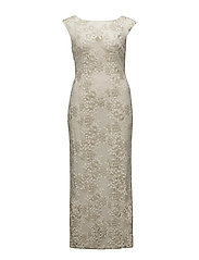 Floral Embroidered Mesh Gown - IVORY/GOLD METALL