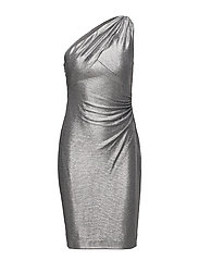 Metallic One-Shoulder Dress - DARK GREY/SILVER