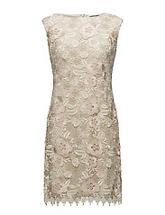 Lace Cap-Sleeve Dress - IVORY/PINK/CHAMPA