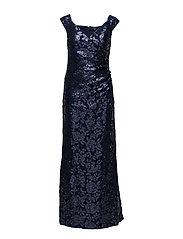 Sequined Off-the-Shoulder Gown - INDIGO/INDIGO SHI