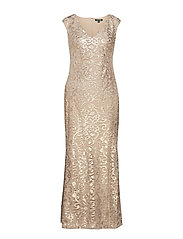 Embroidered Mesh Gown - COASTAL SAND MATT