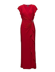 Jersey Flutter-Sleeve Gown - ORIENT RED