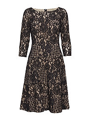 Lace Fit-and-Flare Dress - BLK/BLK/SPRL CHAM