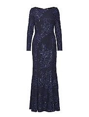 Embroidered Sequined Tulle Gown - NAVY/NAVY SHINE