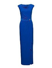 Brooch Jersey Cowlneck Gown