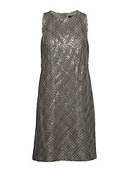 Sequined Sleeveless Dress - CLASSICAL TAUPE