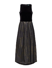 Metallic Jacquard Gown - GOLD GUNMETAL/BLA