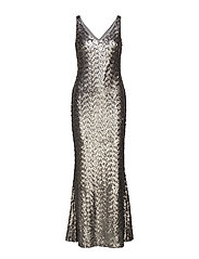 Sequined Evening Gown - LIQUID SILVER MAT