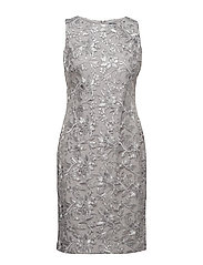 Sequined Floral Mesh Dress - GREY PEARL