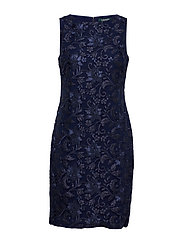 Sequined Floral Mesh Dress - LIGHTHOUSE NAVY