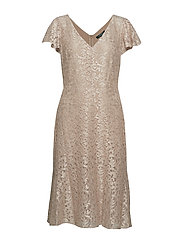 Flutter-Sleeve Lace Cocktail Dress - SPARKLING  CHAMPA