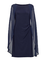 Georgette-Cape Cocktail Dress - LIGHTHOUSE NAVY
