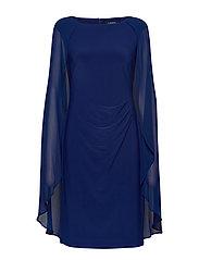 Georgette-Cape Cocktail Dress - PARISIAN BLUE