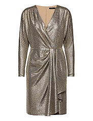 Metallic Stretch Knit Cocktail Dress - BEIGE/GOLD