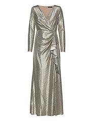Metallic Ruffle-Trim Gown - BEIGE/GOLD