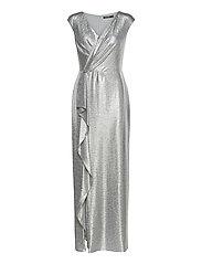 Ruffle-Trim Metallic Gown - DARK GREY/SILVER
