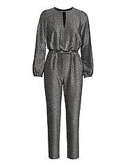 Metallic Long-Sleeve Jumpsuit - BLACK/SILVER