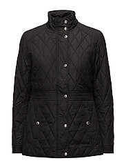 Quilted Mockneck Jacket - BLACK