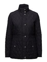 Quilted Mockneck Jacket - DARK NAVY