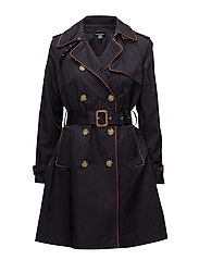 Faux-Leather Trim Trench Coat - DARK NAVY