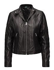 LEATHER-CLLR LTHR ELBW DTL - BLACK