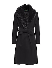 WOOL CASHMERE BLEND-FX FUR COL WL W - BLACK