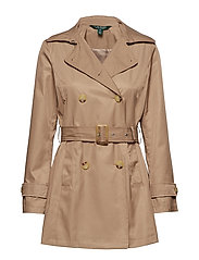 COTTON NYLON-SHORT DB TRENCH - SAND