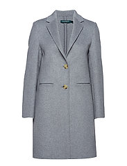 Wool-Blend Two-Button Coat - PALE GREY