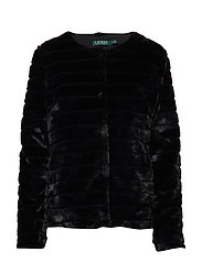 Faux-Fur Chubby Coat - BLACK W/ THIN STA