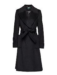 Wool-Blend Wrap Coat - BLACK