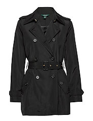 FAUX MEMORY-SOFT TAFFETA TRENCH - BLACK
