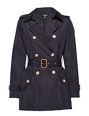 FAUX MEMORY-SOFT TAFFETA TRENCH - NAVY