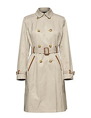 Faux Leather–Trim Trench Coat - TONE CREAM