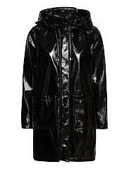 Hooded Slicker Coat - BLACK